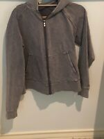 Rare LULULEMON Jacket  zipper Hoodie Size 6 Heathered Gray relaxed distressed