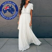 Boho Long White Maxi Dress Embroidered Lace Loose Beach Wedding Hippie S-XL