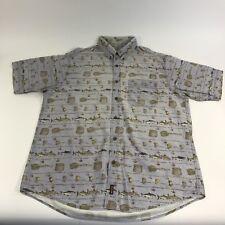 Men's Woolrich Sz XL Light Blue Fishing Themed SS Button Up Shirt Vintage Rare