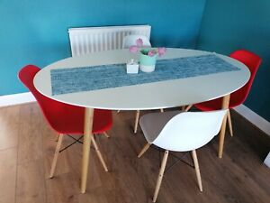 White oval dining table + eames chairs