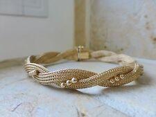 Vintage Italian fancy 18k yellow gold woven braid twist bead mesh bracelet 17g