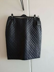MASSIMO DUTTI BLACK LEATHER QUILTED PENCIL SKIRT SIZE: L