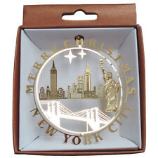 New York City Christmas Tree Ornament, NYC Xmas Ornament, 24k Gold Finish