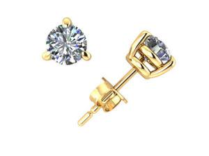 1/2Carat Round Cut Diamond Basket Stud Earrings 14k Yellow Gold 3Prong Set J I1