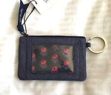 Vera Bradley Moonlight Navy Zip ID Case -denim blue color- flowers pink purple
