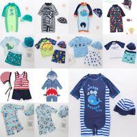 Baby Kids Boy Summer Beach Swimwear Swimsuit Swimming Costume Trunks+Hat Set