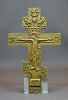 18c.Antique Imperial Russian Orthodox Religious Altar Bronze Cross Crucifix 9''