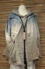 LAGENLOOK*HIGH QUALITY LINEN BEAUTIFUL JACKET**DUSTY BLUE/BEIGE**BUST UP TO 38""