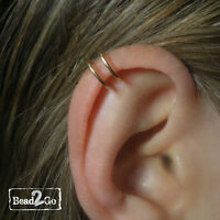 Gold Helix Double Band Fake Ear Cuff- Double Loop Ear Cuff- Fake Body Piercing