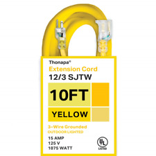 Thonapa 10 Foot Lighted Outdoor Extension Cord - 12/3 Sjtw Heavy Duty Yellow 3 -