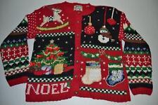 HEIRLOOM UGLY CHRISTMAS RED BLACK SNOWMAN NOEL CARDIGAN SWEATER SIZE MEDIUM M
