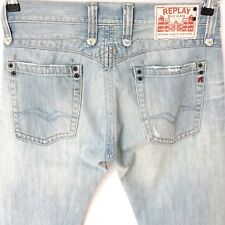 REPLAY Italy Denim MV950A Men Straight Jeans Stonewash Sky Blue W30 W31 L32 NEW
