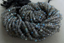 "13"" strand LABRADORITE faceted gem stone round beads 4mm blue green gold flash"