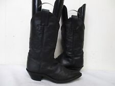 JUSTIN Black Leather Cowboy Western Boots Size 6 B Style L4903 Mexico