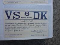 OLD VINTAGE QSL HAM RADIO CARD. HONG KONG 1959