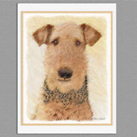 6 Airedale Terrier Dog Blank Art Note Greeting Cards
