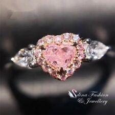 18K White Gold Plated Simulated Diamond Baby Pink Side Stones Heart Eternal Ring