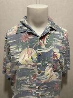 TOMMY BAHAMA Hawaiian Floral 100% Rayon Mens S/S Button Down Shirt Medium M
