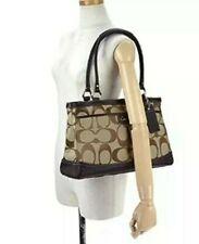 COACH PARK Signature Jacquard Brown Leather Carryall Purse Shoulder Bag F19725