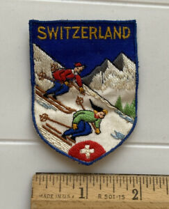 Switzerland Swiss Alps Downhill Skiers Skiing Souvenir Embroidered Patch Badge