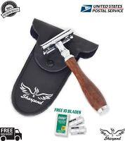 DARK WOOD COLOR  Safety Razor Double Edge Razors 10 Free Blades Pouch travel kit