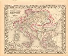 1874 ANTIQUE MAP - AUSTRIAN EMPIRE, ITALIAN STATES, TURKEY IN EUROPE, GREECE