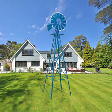 New listing 8Ft Weather Resistant Yard Garden Windmill Gray & Red