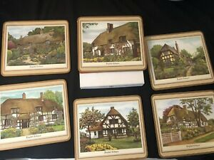 6 PLACEMATS PIMPERNEL ACRYLIC CORK BACKED 'ENGLISH COTTAGES' IN BOX ex cond