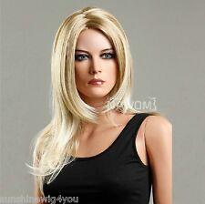 Free shipping long silk straight blonde mixed wig women wigs 100% Kanekalon