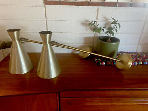 Vintage Set Danish Mid Century Atomic Cone Wall Sconce Lights Lamps MCM Brass