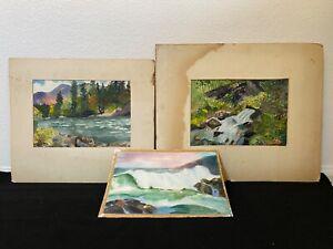 🔥 Antique California Plein Air Impressionist Landscape Paintings (3) - Goodall