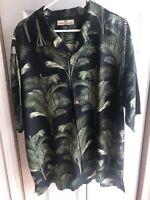Tommy Bahama Mens 100% Silk Shirt Black S/s Hawaiian Button Up Size XL
