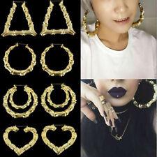 Large Bamboo Earrings Hip-Hop Gold /Silver Ladies Hoop / Hoops Bling Big Circle