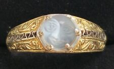 Antique 14k Gold Man In Moon Moonstone Ring/14k Gold Moonstone Ring/14k Ring