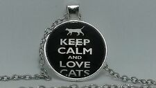 Fashion Fine Jewellery Women's Keep Calm Love Cats Cabochon Silver Necklace