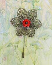 RED POPPY PIN Bronze Tone Filigree Flower Remembrance Lapel Brooch HAND PAINTED