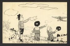 Handmade hand drawn / ink - WWI children with kites waving to airplane 1919