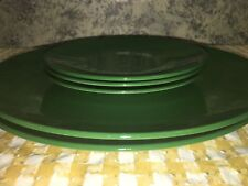 KNOWLES China color ware plates deep green 2 dinner 3 dessert vintage pottery