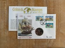 TURKS & CAICOS 1992 FDC COIN 5 CROWNS CHRISTOPHER COLUMBUS SANTA MARIA SHIP