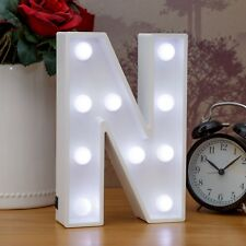 Light Up Letter N - White Marquee Letters 23cm LED Wooden Letter Lights Sign A-Z