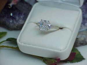 Ross Simons 14K White Gold Em Trillion Cut CZ Cathedral Anniversary Ring Sz 8
