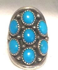 Vintage Sterling Silver Native American Zuni Turquoise Ring Size 8.5 Petite Poin