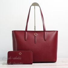 Kate Spade Adel Large Tote Shoulder Bag Cherrywood Leather Laptop Carryall