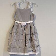 NWT***MONNALISA***Silver Taffeta Party Dress***Age 8**$417