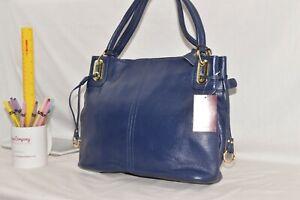 GENUINE LEATHER - NEW - Jane Shilton Designer Shoulderbag Handbag - DARK BLUE