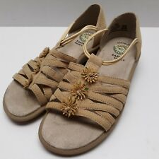 Earth Shoe Womens Beige 6.5M Muse Leather T-Strap Slip On Wedge Sandals Shoes