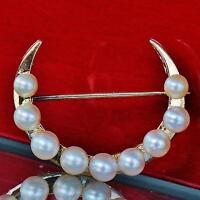 1930's Vintage handmade 14k yellow gold half moon 4mm pearl pin brooch 3.4gr