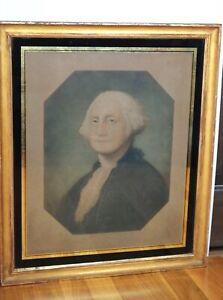 19c Americana George Washington Portrait Chromolithograph Print Signed Art
