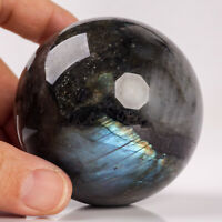 417g 65mm Natural Flash Labradorite Quartz Crystal Sphere Healing Ball Chakra