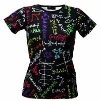 Women's Maths Formulas Blackboard School Print Crew Neck T-Shirt Top Size 8-22